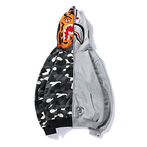 Boys Mens Luminous Sweatshirt Fashion Casual Coat Outdoor Hip-Hop Funny Tops (L, Spotted Gray)