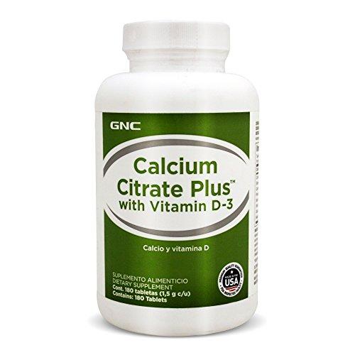 GNC Calcium Citrate Plus with Vit D-3, frasco con 180 Tabletas