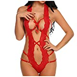CUCAMM Lingerie for Women, National Best Friends Day Personalized Gift Children's Day Wearable Gift Father's Day Sexy Silk Perspective Backless Bodysuit Lace Underwear Red