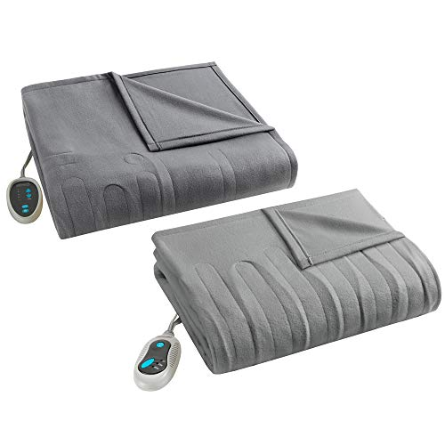 heated fleece blanket and throw combo set