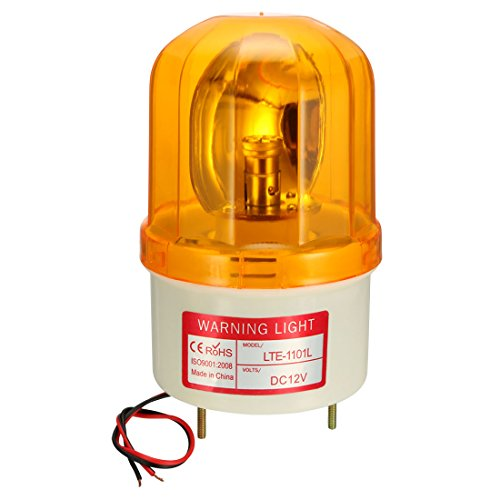 uxcell LED Warning Light Bulb Rotating Flashing Industrial Signal Tower Lamp DC 12V Yellow (Best Uxcell Light Bulbs)