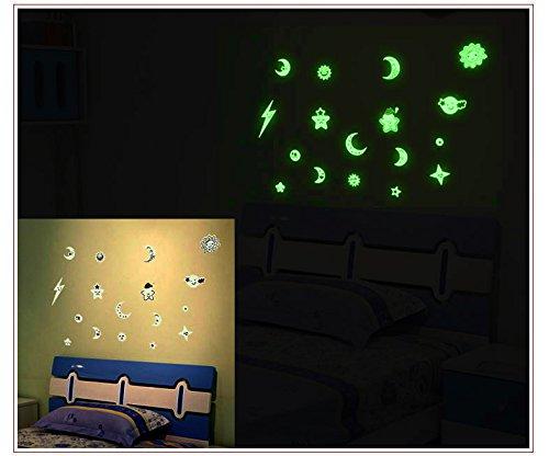 2 Sheet Removable Glow in the Dark DIY Cartoon Sun Moon S...