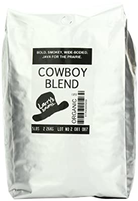 Larry's Coffee Organic Fair Trade Whole Bean, Cowboy Blend, 5-Pound Bag