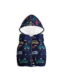 ASTV Baby Boy Girl Sleeveless Cartoon Car Print Hooded Zipper Vest Warm Jacket
