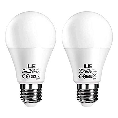 LE Bombillas LED, E27 9W Equivalente 60W Incandescente, Blanco cálido 2700K, Intensidad variable desde Interruptor, Pack de 2: Amazon.es: Iluminación
