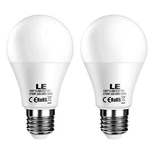 LE Bombillas LED, E27 9W Equivalente 60W Incandescente, Blanco cálido 2700K, Intensidad variable desde Interruptor, Pack de 2: Amazon.es: Iluminación