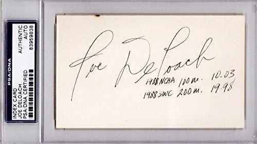 Joe DeLoach Autographed Signed RARE Track and Field Sprinter 3x5 Inch Index Card with Inscriptions - 1988 Gold Medalist - PSA/DNA Authenticity (COA) - PSA Slabbed Holder from Sports Collectibles Online