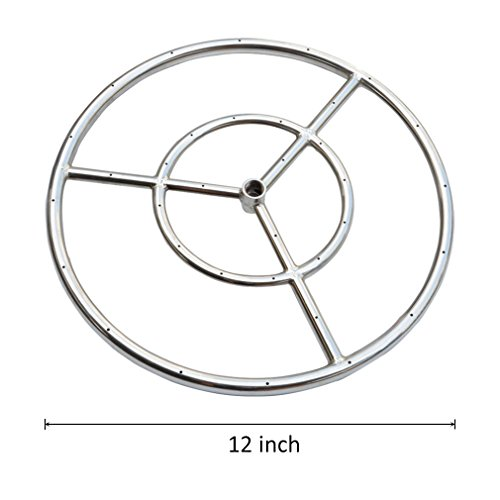 onlyfire 12-Inch Stainless Steel Round Fire Pit Burner Ring, Double Ring - Gas Stainless Fire Pit Burner