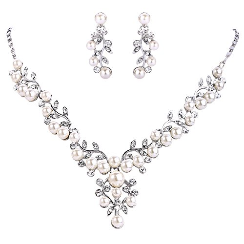 EVER FAITH Crystal Simulated Pearl Leaf Vine Bridal Prom Necklace Pierced Earrings Set Clear Silver-Tone