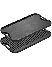 Lodge Pre-Seasoned Cast Iron Reversible Grill/Griddle With Handles, 20 Inch x 10.5 Inch