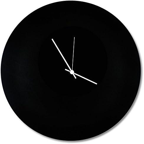 Minimalist Black Clock Blackout White Circle Clock Contemporary Metal Wall Clocks, Monochrome Modern Decor – 16in. Black w White Hands