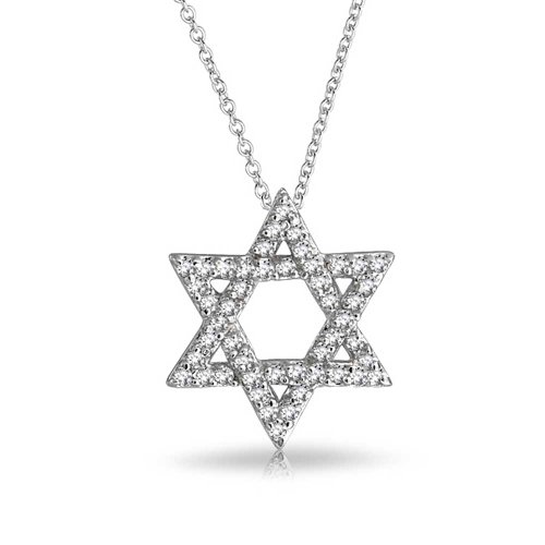 Hanukkah Pave Cubic Zirconia CZ Magen Intertwined Jewish Star Of David Pendant Necklace For Women 925 Sterling Silver