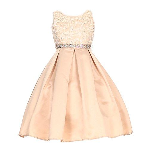 Big Girls Champagne Rhinestone Lace Pleated Satin Junior Bridesmaid Dress (Satin Lace Dress)