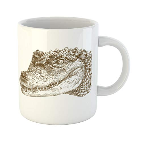 Semtomn Funny Coffee Mug Alligator Antique Engraving of Crocodile Head Vintage African Caiman 11 Oz Ceramic Coffee Mugs Tea Cup Best Gift Or Souvenir