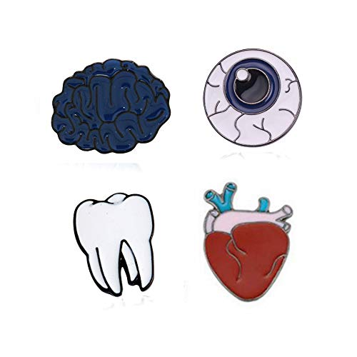 Cute Enamel Lapel Pins Sets Cartoon Animal Plant Fruits Foods Brooches Pin Badges for Clothing Bags Backpacks Jackets Hat DIY (Teeth Eyeballs Brain Heart Set of 4)