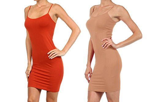 2 Pair Pack - Women's Seamless Long Camisole Slip Dress (One Size, 2-Pack; Rust & - Camel Rust