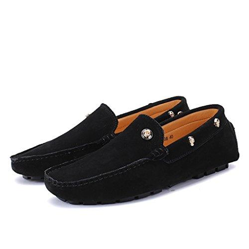 Eagsouni® Herren Mokassins Bootsschuhe Wildleder Loafers Schuhe Flache Fahren Halbschuhe Beiläufig Slippers Hausschuh #2Schwarz