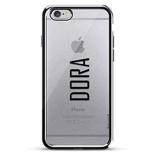 - Luxendary Designer, 3D Printed, Fashion, High End, Premium, Chrome Trim Cell Phone Case for iPhone 6/6S - Silver Name: Dora, Modern Font Style