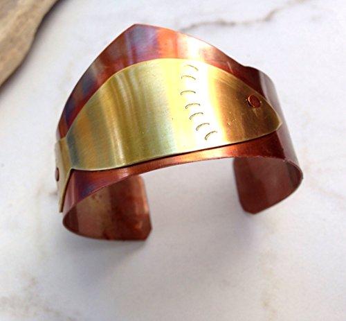 handmade-copper-brass-cuff-bracelet-brass-fish-flamed-rustic-copper-jewelry