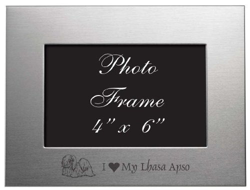 Sutter's Mill Specialties 4x6 Brushed Metal Picture Frame - I Love My Lhasa Apso ()