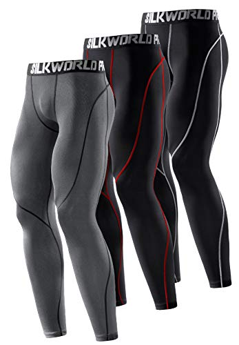 SILKWORLD Men's Compression Pants Cool Dry Baselayer Workout Running Tight Leggings (Pack of 3)