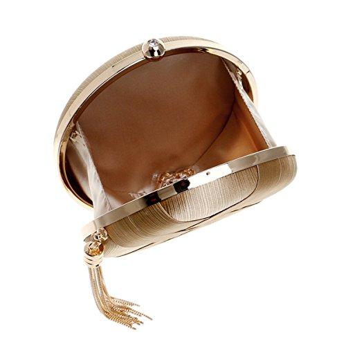 Flada and bags Handbags with Ladies Black Tassel Pendant Wedding Clutches Women Evening Round Satin qaSUnwxArq