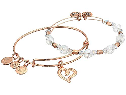 Alex and Ani Set of Two Handwritten Hearts Bangle Bracelets - Shiny Rose Gold Finish