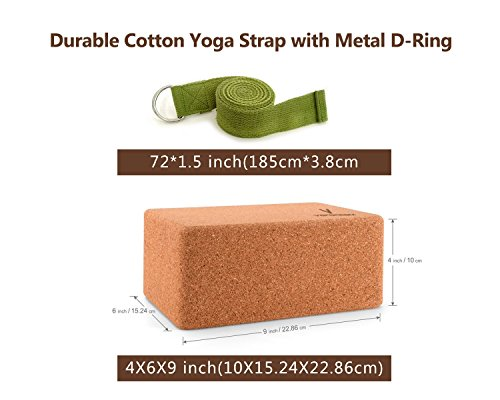 """Cork Yoga Blocks 2 pack Plus 1 Yoga Strap ( Sturdy Natural No Smell Wood Yoga Blocks 9""""x 6""""x 4"""" 100% Made from Oak Cork and 8' Length Yoga Strap For Any Yoga or Fitness Routine by Vafoream)"""
