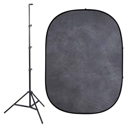 Interfit PB101K Studio Essentials Collapsible - KIT - 5' x 6.5' Pop-Up Background - Muslin with Stand & Clip, Dark Gray/Light Gray
