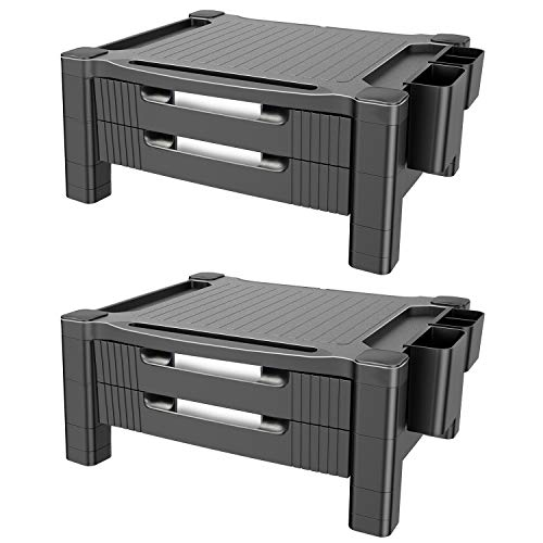 (Monitor Stand Riser with Dual Storage Drawers - Adjustable Computer Screen Riser Printer Stand, Desk Organizer with Phone and Tablet Slot - Removable Holder for Pen Pencil Office Supplies(2 Pack))