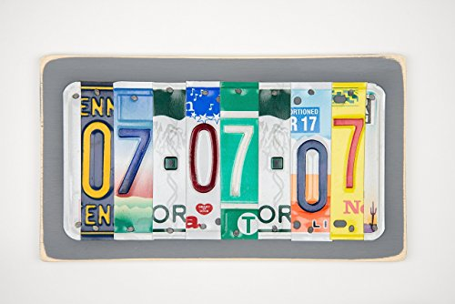 10th Anniversary Tin and Aluminum License Plate Wedding Date Sign Gift Idea for Husband or Wife -