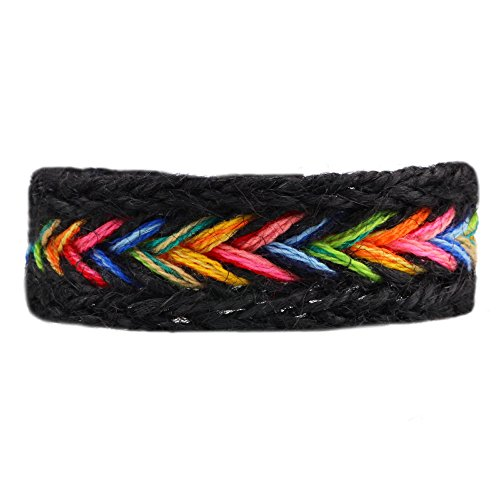 Winter's Secret Handmade Braided Seven Rainbow Color Black Hemp Rope Wrap Charming Adjustable - Tiffany Engraving Store In