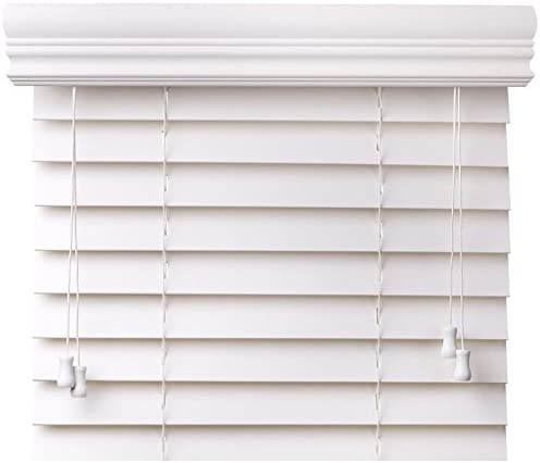 Bravada Select, Superior 2 Faux Wood Blinds Snow White, 34 1 2 Wide x 58 Length