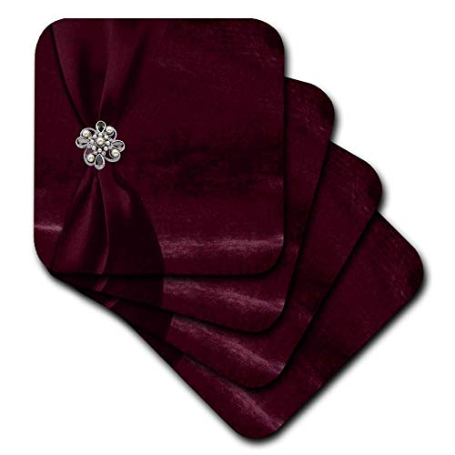 3dRose Beverly Turner Satin Ribbon Design - Red Satin Ribbon on Velvet with Jewel - set of 4 Coasters - Soft (cst_49159_1) -
