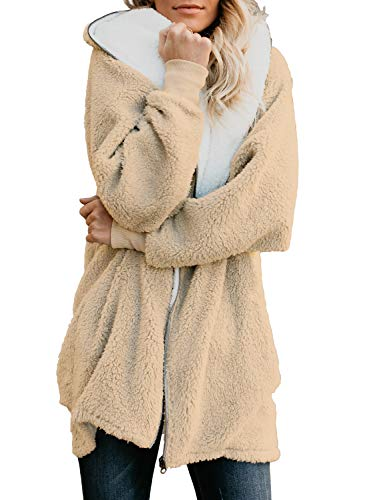 Lovezesent Womens Zip up Fuzzy Fleece Jackets Loose Open Front Hoodie Cardigan Coats Outwear with Pockets Apricot Large