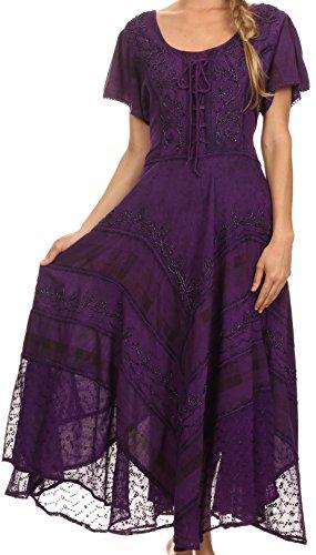 - Sakkas 15323 - Mila Long Corset Embroidered Cap Sleeve Dress with Adjustable Waist - Purple - S/M
