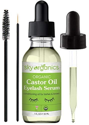 Organic Castor Oil Eyelash Serum by Sky Organics (1 oz) USDA Organic Cold-Pressed 100% Pure Castor Oil Natural Eyelash…
