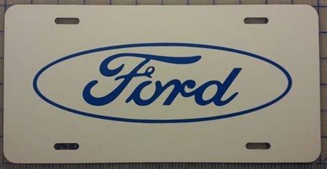 Ford Logo White Gloss License Plate