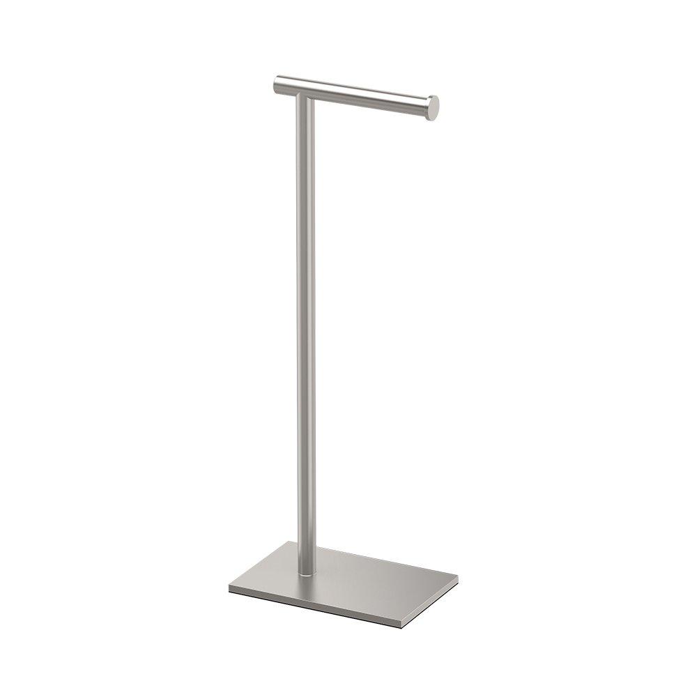 Gatco 1431SN Modern Square Base Toilet Paper Holder Stand, Satin Nickel, 22.25''H
