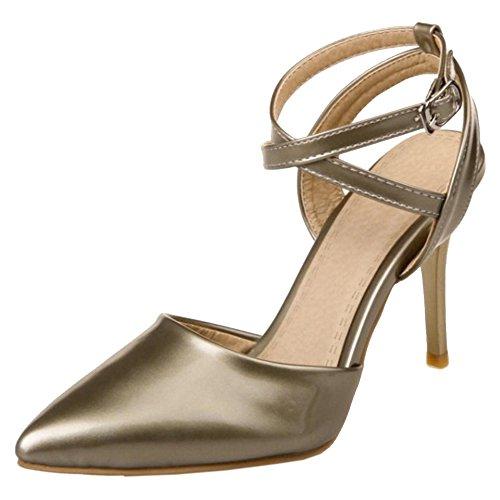Femmes Gold Pointu 8 Sandales TAOFFEN HdnFw5xx4q