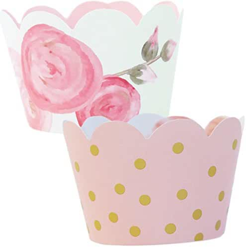 Pink and Gold Party Supplies, Watercolor Floral Cupcake Wrapper Decorations, Confetti Couture, 36