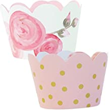 Pink and Gold Party Supplies 1st Birthday, 36 Floral Cupcake Wrappers, Baby Shower Decorations for a Girl, Favor Bag Holder, Reversible, Adjustable Cup Cake Liner Wrap, Vintage Wedding Decor