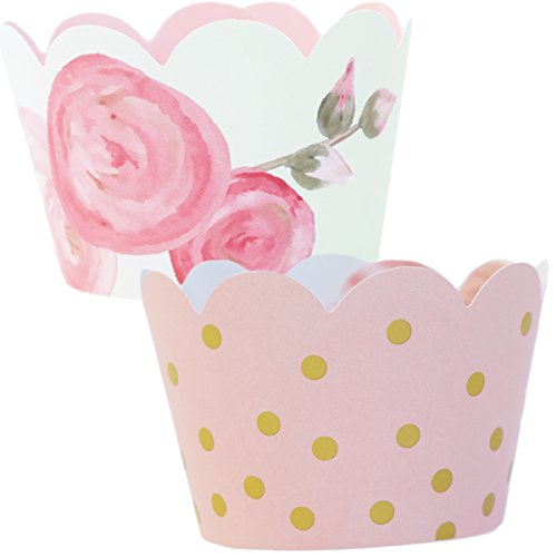 Pink and Gold Party Supplies 1st Birthday, 36 Floral Cupcake Wrappers, Baby Shower Decorations for a Girl, Favor Bag Holder, Reversible, Adjustable Cup Cake Liner Wrap, Vintage Wedding (Pink Cupcake Liners)