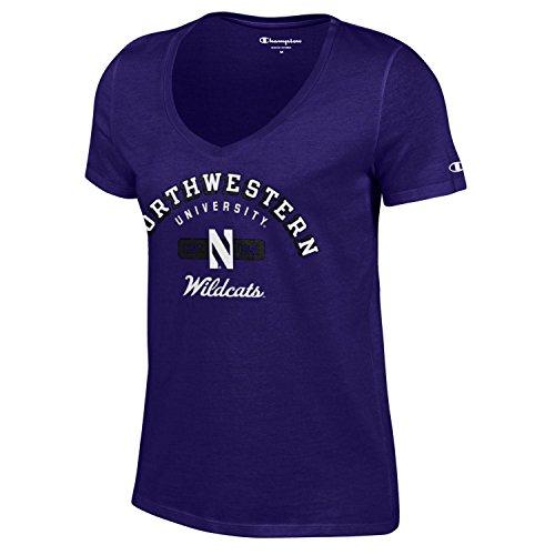 - Champion NCAA Women's University Short Sleeve Tagless V-Neck Tee Northwestern Wildcats Small