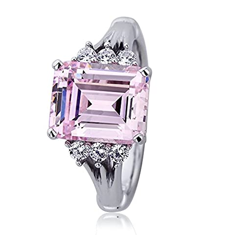 Platinum Plated Sterling Silver Engagement Ring Pink Color Emerald Cut CZ Ring - Ring Size: 7 - Sterling Silver Engagement Plated Ring