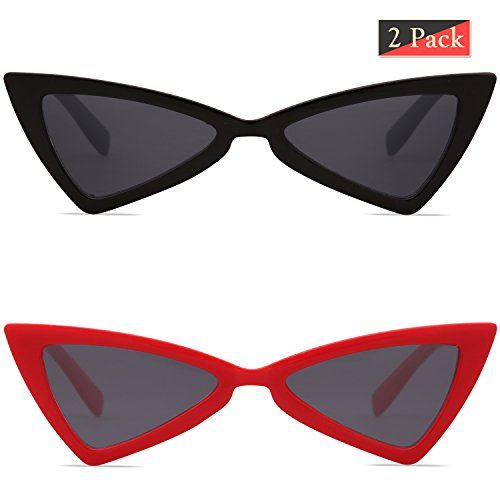 SojoS Small Cateye Sunglasses for Women Men High Pointed Triangle Glasses SJ2051 with Black Frame/Grey Lens + Red Frame/Grey Lens 2 Pairs of - Sale On Quay Sunglasses