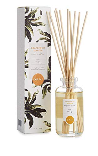 Natural Reed Diffuser Set by DANI Naturals - Fresh Grapefruit Ginger Fragrance - Aromatherapy Essentials Oils - Alcohol Free - 10 Diffuser Sticks - 3.5 Ounce Glass Bottle