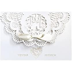 Benbilry 20 PCS Wedding Invitations Cards, White Laser Cut Party Invitations Cards with Hollow Flora Favors, Printable Cardstock and Bow Silk Ribbon