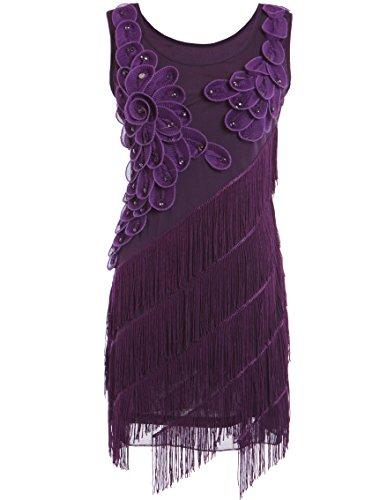 PrettyGuide Women 1920s Beaded Fringe Scalloped Petal Hem Origami Flapper Dress (US 0-4, (Purple Scalloped)