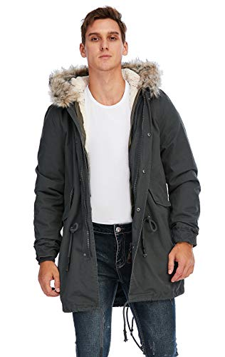 TIENFOOK Men Parka Jacket Winter Coat with Drawstring Waist Thicken Fur Hood Lined Warm Detachable Design Outwear Jacket (Dark Grey, Small)